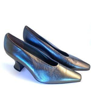 Via Spiga Metallic Leather Pumps  Chunky Heels